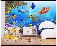 papel pintado de los niños al por mayor-Custom 3d murales de pared wallpaper 3d photo wallpaper murales 3D Underwater World Children's Room Fondo de dibujos animados papeles de pared decoración para el hogar