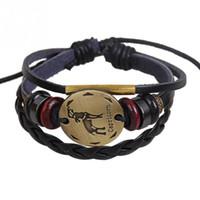 steinbock charme großhandel-Herren Constellation Armbänder 2018 Unisex Modische Bronze-Legierung Faux Rindsleder Armband Armband Steinbock Handarbeit Armband