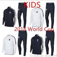 Wholesale Kids Boys Sweaters - 2018-19 KIDS FRANCE SOCCER SET veste survêtements SWEATER football chandail de football survêtement adulte YOUNTH skinny pantalon TRACKSUIT