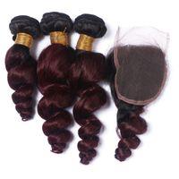 bordo ombre örgü toptan satış-Malezya Şarap Kırmızı Ombre Saç Demetleri ile Kapatma Gevşek Dalga Bordo Ombre 99j Dalgalı Saç 4X4 En Kapatma ile Örgüleri