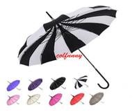 Wholesale black pagoda umbrella for sale - Group buy 10pcs Fast Shipping Creative Design Black And White Striped Golf Umbrella Long handled Straight Pagoda Umbrella F062102