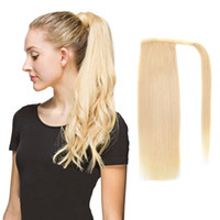 Wholesale ponytail 22 inches for sale - Human Hair Ponytail European Straight Hair Extensions gram Wrap Around Clip In Pony Tail Remy Hair Inches