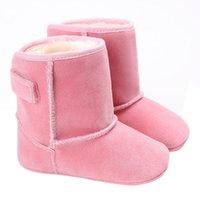 туфли для новорожденных оптовых-Горячие продажи !! 2017 Зима крюк петля черный коричневый розовый белый красный загрузки теплый ребенок Малыш младенческой снег сапоги квартиры обувь #JY