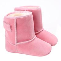 sıcak pembe bebek ayakkabıları toptan satış-Çok satan !! 2017 Kış kanca döngü Siyah Kahverengi pembe Beyaz Kırmızı Çizme Sıcak bebek yürüyor bebek Kar Botları Daireler Ayakkabı # JY