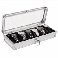montres enrouleur achat en gros de-Boîte de montre 6 Grille Insérer Slots Bijoux Montres Affichage Boîte De Rangement Cas En Aluminium Bijoux Décoration Enrouleur