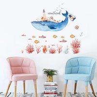 ingrosso decorazione domestica degli adesivi della parete della camera da letto-Commercio all'ingrosso nuovo mondo subacqueo balena Wall Stickers Home Decor camera da letto soggiorno rimovibile adesivi murali decorativi