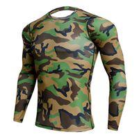 camisa de compressão verde venda por atacado-Exército Verde Camo 3D Camisa Sportswear Homens Elástico Correndo Camisa Esporte Quick Dry Ginásio Trainning Compressão T Rashgard