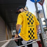 t quadratisches drucken großhandel-Zurück Squares Druck Rundhalsausschnitt Hipster T-shirt Männer 2018 Sommer Neue Mode Streetwear Hüfte Hüfte T-shirt Männer T-Shirts
