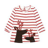 niñas vestidos de santa claus al por mayor-Niñas vestidos de princesa vestidos de rayas de manga larga bebé falda fiesta de Navidad Cosplay traje de Santa Claus Elk impresión decoraciones regalo