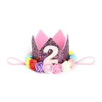 fitas de flores venda por atacado-Meninas Hairbands Acessórios Cabeça Bebê Princesa Flor Headbands Faixa de Cabelo Crianças Flor Elástica Coroa Headwear