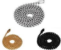 kugelkettenhalsketten für männer großhandel-Kostenloser Versand Edelstahl Perlen Kugelkette Halskette für Männer Frauen Anhänger Zubehör Kette 2,4 mm, 24