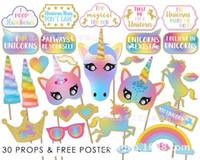 accesorios de la cabina de la boda al por mayor-30 UNIDS Glitter Unicornio Photo Booth Atrezzo Fiesta de Cumpleaños de la Boda Fuente SKY 2 estilos de cabina de fotos BBA175 20set