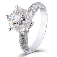 настоящий муассанит оптовых-TransGems 5ct центр 11 мм F цвет Moissanite обручальное кольцо Solitare с акцентами для женщин подлинной 14 K белое золото