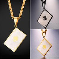 Wholesale ace poker - U7 Men's Poker Charm Pendant Necklace For Poker Lover Solid Stainless Steel Ace Of Spade Necklace Gift For Him GP2576