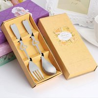 Wholesale korean chopstick spoon set - Fashion Heart Shape Stainless Steel Dinnerware Set Cutlery Tableware Wedding Favors And Gifts For Guest ZA6428