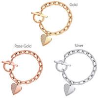 kettenglied kristall armbänder großhandel-Liebe Armband Mode Exquisite Designer Armband Gliederkette Polieren Kristall Goldsplitter Rose Gold Handgelenk Armband Trendy Herz