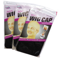 Wholesale elastic wig caps - Unisex Stocking Wig Cap Stretchable Elastic Hair Net Snood Wig Cap Hairnet Hair Mesh weave cap 2Pieces per Pack 12packs lot Total 24Pieces