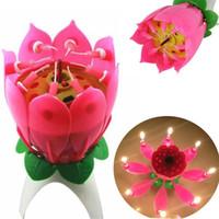 lampe à pétale achat en gros de-Rose Bougie Parfumée Lampe Velas Decorativas Beau Cadeau D'anniversaire Fleur Chandelier Musique Lotus Pétale Pour La Saint Valentin Fournitures De Noël