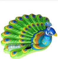 animales inflables de agua al por mayor-Nuevo diseño inflable Peacock Adulto Juguete acuático Inflable Flotadores Verano Grandes piscinas Tubos de agua divertidos Silla de playa Cama
