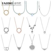 collar de cadena turquesa al por mayor-FAHMI 100% 925 Silver Charm Sterling FAIRYTALE TIARA COLLAR elegancia intemporal corazones collar de Winter COLLIER COLLAR ESENCIA