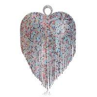 sac à main en strass achat en gros de-Dernières Coeur Gland Strass Femmes Embrayages Cristal Doigt Chaîne Épaule Sacs À Main Pour La Fête De Mariage De Mariée Bourse