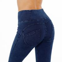 jeans xxl para mujer al por mayor-Las mujeres del sexo de la mano de AK jeans ajustados spandex butt levantando jeans para mujer de cintura alta stretch spandex polainas polainas en stock para siempre