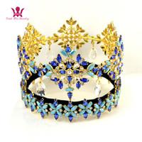 ingrosso corona piena arrotondata-Miss World Pageant Crowns Global Full Round Ciondola il pendente Cristallo Strass austriaco Colore blu Miscelazione Parrucchiere Diademi di alta qualità mo233