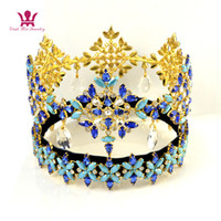 Wholesale tiara miss - Miss World Pageant Crowns Global Full Round Dangle Pendant Crystal Austrian Rhinestone Blue Colour Mixing Hairdress Tiaras High Grade mo233