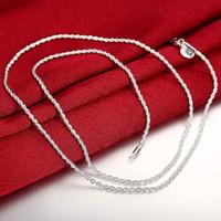 colares de 16 polegadas para mulheres venda por atacado-Venda quente de varejo atacado 925 colar de prata banhado a homem colar de homens 2mm 16 18 20 22 24 polegada corda torção cadeia acessórios de jóias