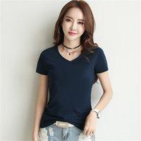2019 pure cotton, Korean version, bottoming shirt, short sleeved T-shirt, summer women's wear, loose V,2pieces