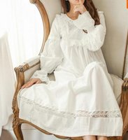 ingrosso pigiami di seta gialli-Pure Royal Memory Puro cotone camicia da notte principessa manica lunga camicia da notte signore pigiameria bianca da notte per donna AW313