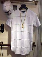 cremalheiras laterais venda por atacado-Nova Hiphop Swag Tyga Curva De Moda Kanye Bieber Alongado Alongar Lado Zip patchwork T shirt Tee Top Homens