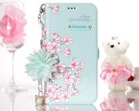 Wholesale Blue Floral Iphone Cases - For Iphone X 8 Plus 7 6 6S 5 SE 5S Case Flower Leather Wallet Stylish Floral ID Card Slot Flip Cover Skin Stand Holder Luxury Pouch+Strap