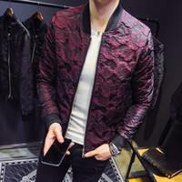 ingrosso giacche jacquard-Autunno New Jacquard Bomber Giacche Uomo Luxury Party Outfit Club Bar Rosa cappotto uomo Casaca Hombre