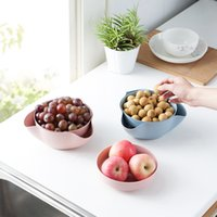 fruit drying NZ - Hourong 1set Detachable Wheat Straw Fruit Plate Storage Tool Disc Dry Fruit Snacks Candy Dish Fruit Bowl Home Kitchen Gadgets