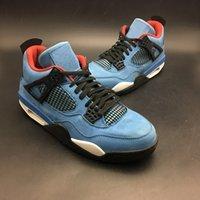 Wholesale super jacks - Super limited Travis 4s Houston blue shoes 2018 New Mens Street Fashion 4 Cactus Jack suede shoes Size Eur 41-47