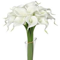 ingrosso fiore bianco mini calla giglio-24pcs bianco Mini Calla Lily 14 Calla Lily nuziale Bouquet da sposa in lattice Real Touch Flower Bunch Home Decor