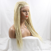 Wholesale long brown braided wig - Hot Selling TWIST Braided Wig Synthetic Hair Glueless Lace Front Wigs Blonde Hair Color Long Natural Straight Braided Wigs with Baby Hair