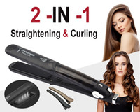 Wholesale Ceramic Coated Curling Iron - 2 in 1 Curling and Straightening Steam Flat Iron- Professional Steam Hair Straightener Styler Salon Flat Iron with Steamer