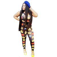 Wholesale cute pullover crew necks resale online - Emoji Print Women Tracksuit Summer Two Piece Set Crop Top And Pants Suit Cute Jogger Set Casual Sweat Suits Female