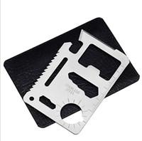 açık mini bıçak kartı toptan satış-Mini Paslanmaz Çelik Çok Cep Kredi Kartı Aracı Taşınabilir Açık Survival Kamp Cüzdan Kart Araçları Bıçak Outdoors Dişli EDC Araçları