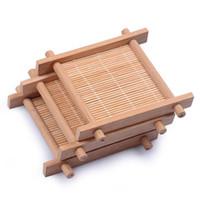 ingrosso tappetini da tavolino in bambù-Stuoia di bambù fatta a mano Kung Fu Accessori per il tè Tovagliette da tavola tazze di caffè sottobicchiere bevande accessori per la cucina tazza stuoie pad