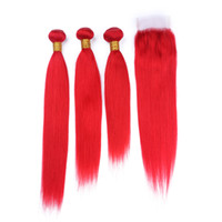 düz kırmızı saç uzantıları toptan satış-Yeni Varış Yakut Kırmızı Ipeksi Düz 3 Demetleri Ile Bakire Saç Örgüleri Kapatma Kırmızı Saç Virgin İnsan 3 Demetleri Ile Uzatma Dantel Kapatma
