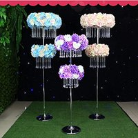 Wholesale floor chandeliers - two tiers can rise height tall Crystal hanging centerpiece  wedding floor chandeliers  flower stands chandeliers for wedding stage walkway