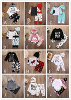 Wholesale Trousers Black Flowers - 12 Style Baby INS Stripe Letter Flower Suit Kids Toddler Infant Casual Long Sleeve T-shirt+trousers Outfit Pajamas Newborn Baby Clothes 2017