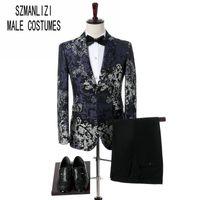 Bräutigam-Abnutzungs-Schal-Revers 2 Stück-blaue schwarze  Blumen-Blumen-Klage-bunte Mens-Smoking-Hochzeits-Abschlussball-Klagen-bester  Mann-Mantel mit Hosen 0f68138dee