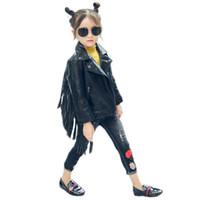 deri ceket 4t 5t toptan satış-Sonbahar kış sıcak çocuk PU ceket, 2-7 yaşındaki kız moda yaka, püskül deri, motosiklet deri ceket