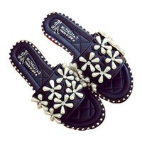 Wholesale canvas slippers for men - Women Slippers flat women sandals Summer Flip Flops handmade crystal female Slippers 39 beach shoes for wome Outdoor Shoes rivet