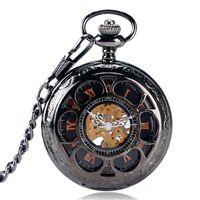 número de diseño de flores al por mayor-Clásico Retro Mecánico Reloj de Bolsillo Hueco Flores Diseño Cubierta Número romano Display Dial Lujo Unisex Reloj Colgante Regalos