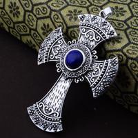 Wholesale Malachite Cross - Wholesale-50% off Fashion Jewelry Natural Lapis Lazuli Malachite Tiger Eye Stone beads Pendant cross Free Leather Chains Necklace